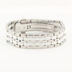 NEW IceLink Stainless Steel 2-Row Oval White Ceramic Bracelet
