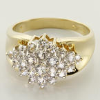 Vintage Womens 14K Yellow Gold Sapphire Cluster Cocktail Ring Band