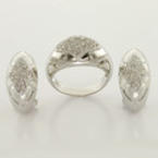 Ladies Vintage Classic Estate 14K White Gold Diamond Ring & Earring Jewelry Set