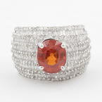 Retro Estate 18K White Gold Orange Citrine Diamond 4.50CTW Cocktail Right Hand Ring