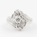 Modern Estate Ladies 14K White Gold Natural Diamond 0.90CTW Right Hand Ring