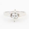 Classic 14K White Gold Marquise Cut Diamond 0.75CTW Cathedral Engagement Ring