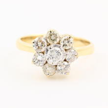 Modern  Estate Ladies 14K Yellow Gold Diamond Rosita Cluster Promise Right Hand Ring