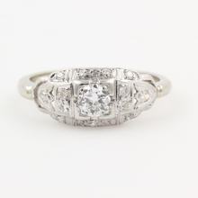 Vintage Estate 14K White Gold Diamond 0.50CTW Deco Engagement Ring