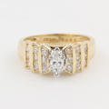 Modern Estate Ladies 14K Yellow Gold Marquise Cut Diamond 0.60CTW Right Hand Ring Jewelry