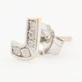 Classic Modern Estate 14K White Gold Diamond Initial Personalized Letter J Single Push Back Stud Earring