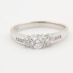 NEW Modern 14K White Gold Three Stone Diamond 0.52CTW Engagement Anniversary Ring