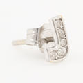Classic Modern Estate 14K White Gold Diamond Initial Personalized Letter J Single Push Back Stud Earring
