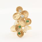 Retro Vintage Estate 14K Yellow Gold Diamond Emerald Opal Cocktail Ring