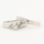 Classic Modern 14K White Diamond Wedding Ring Bridal Duo Set