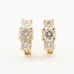 Modern Estate 18K Yellow Gold Diamond Heart French Back Earrings