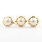 Classic Ladies 10K Yellow Gold Mabe Pearl Two Piece Ring Earrings Jewelry Set