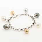 NEW Modern Ladies 14K White Gold Baroque Pearl 8in Statement Bracelet