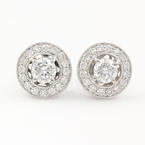 Classic Ladies 18K White Gold Diamond 1.35CTW Stud Push Back Earrings