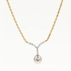 """Vintage Estate 14K Yellow Gold Diamond Tahitian Pearl 21"""" Rope Chain Necklace"""