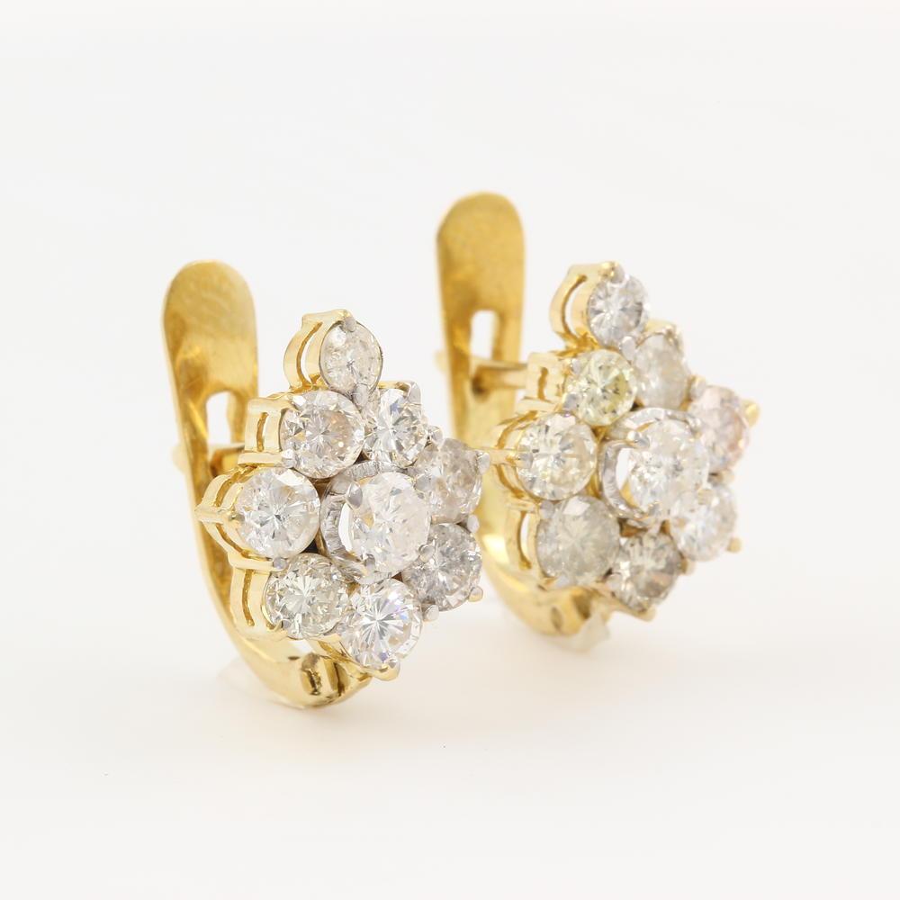 Earrings→ Vintage Estate 18k Yellow Gold Diamond Floresita 185ctw French  Back Earrings