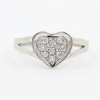 Cute Ladies Sterling Silver 925 Heart Zirconia Ring