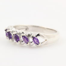 Classy Ladies Sterling Silver 925 Amethyst Diamond Ring Band