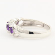 Classy Ladies Sterling Silver 925 Amethyst Diamond Ring Band