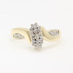 Modern Estate 14K Yellow Gold Diamond Cluster Right Hand Ring