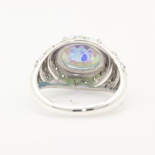 Vintage Ladies Sterling Silver 925 Peacock Topaz Diamond Ring Jewelry