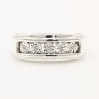 Modern Estate Men's 925 Silver Diamond Sz 10.5 Ring Band Jewelry