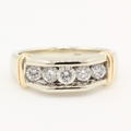 Modern Estate Mens 14k Two Tone Round 1.00CTW Five Diamond Wedding Band Ring