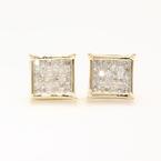 Modern 14k Yellow Gold Princess Cut Diamond 0.65CTW Screw Back Stud Earrings