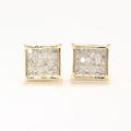 Modern 14k Yellow Gold Princess Cut Diamond 0.65CTW Screw Back Stud Earrings