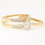 Classic Estate 14K Yellow Gold Diamond Ladies Wedding Ring Duo Set -  0.70CTW