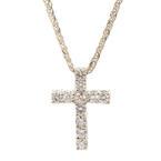 Modern Estate 14K White Gold VS Diamond 4.0CTW Cross Pendant 18K Wheat Box Chain