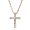 Modern Estate 14K White Gold VS Diamond 4.0CTW Cross Pendant 18K Wheat Box Chain