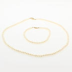 "Genuine Chinese Cultured Freshwater Pearl Strand 18""Necklace 7""Bracelet 14K Set"