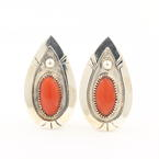 Unique Sterling 925 Silver Clip On Orange Cabochon Earrings