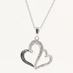 Beautiful Sterling 925 Silver Double Heart Diamond Pendant Necklace