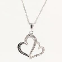 Beautiful Sterling 925 Silver Double Heart Diamond Pendant Necklace