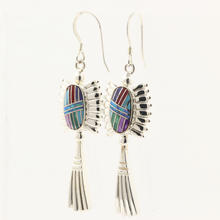 Vintage Sterling 925 Silver Colorful Enamel Drop Dangle Hook Earrings