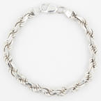 Striking Classic Men's Sterling 925 Silver Rope Bracelet Jewelry