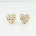 Authentic Cartier 18K Yellow Gold Heart Shaped Round 1.5CT Diamond Earrings