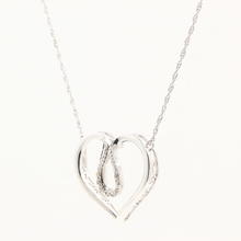 Delightful Sterling 925 Silver Heart Diamond Pendant Necklace