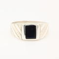 Estate Men's 925 Sterling Silver Black Square Design Ring Band Sz.11.25