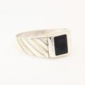 Estate Men's 925 Sterling Silver Black Square Design Ring Band Sz.11.25