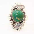 Striking Ladies 925 Sterling Silver Green Stone Leaf Design Ring Jewelry Sz.5.75