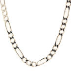 "Lustrous Mens 925 Sterling Silver Figaro 26"" Chain Jewelry"