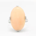 Fine Vintage Estate Retro 14K White Gold Angels Sking Coral Cabochon Cocktail Ring
