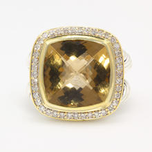 Authentic David Yurman Albion Ring Lemon Citrine Diamond Sterling Silver 925 18K