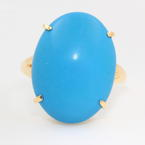 Fine Vintage Estate Retro 18K Yellow Gold Blue Cabochon Cocktail Ring