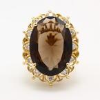 Vintage Estate 14K Yellow Gold Smoky Quartz Diamond 14.30CTW Cocktail Ring