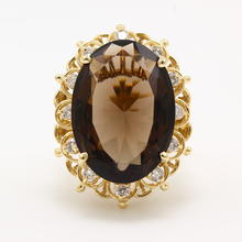 Vintage Estate 14K Yellow Gold Smoky Quartz Diamond 14.30CTW Cocktail Ring
