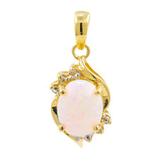 NEW Modern Retro 10K Yellow Gold Opal Diamond Pendant